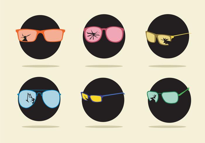 Vecteur de lunettes fissurées