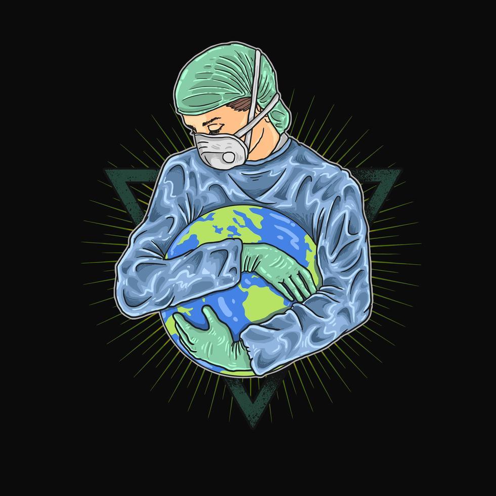 sauver notre conception de pandémie mondiale vecteur