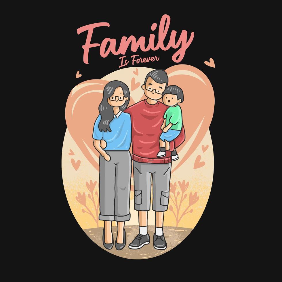 la famille est pour toujours la conception de l'affiche vecteur