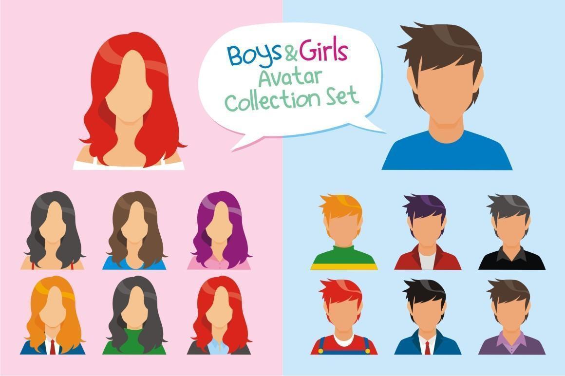 ensemble de collection d'avatar garçons et filles vecteur