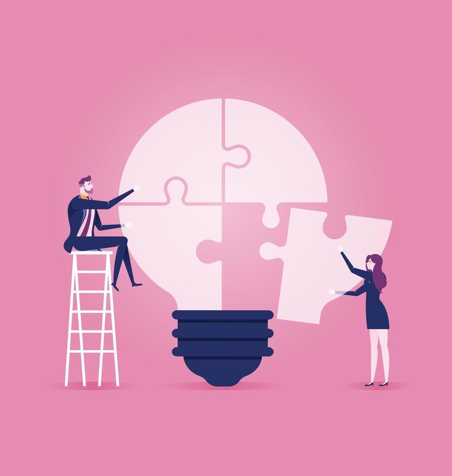 hommes affaires, séance, échelle, compléter, idée, ampoule, puzzle vecteur