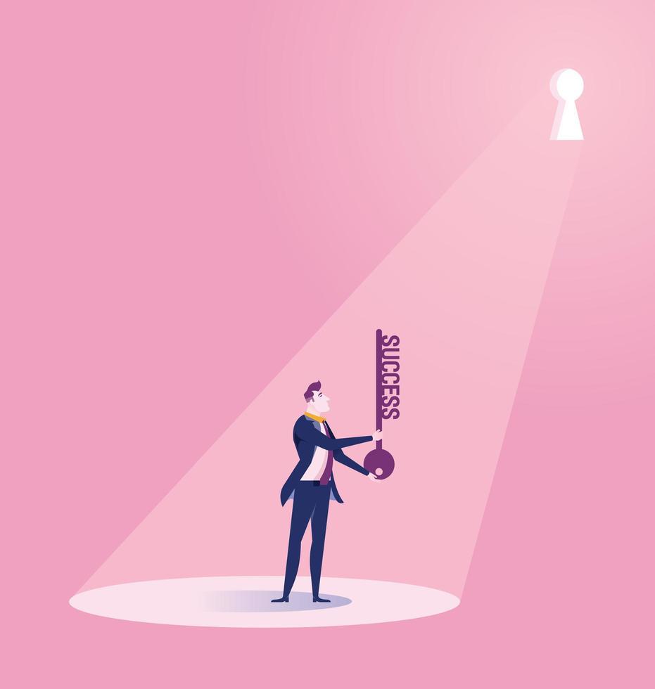 homme d'affaires détenant la clé du succès vecteur
