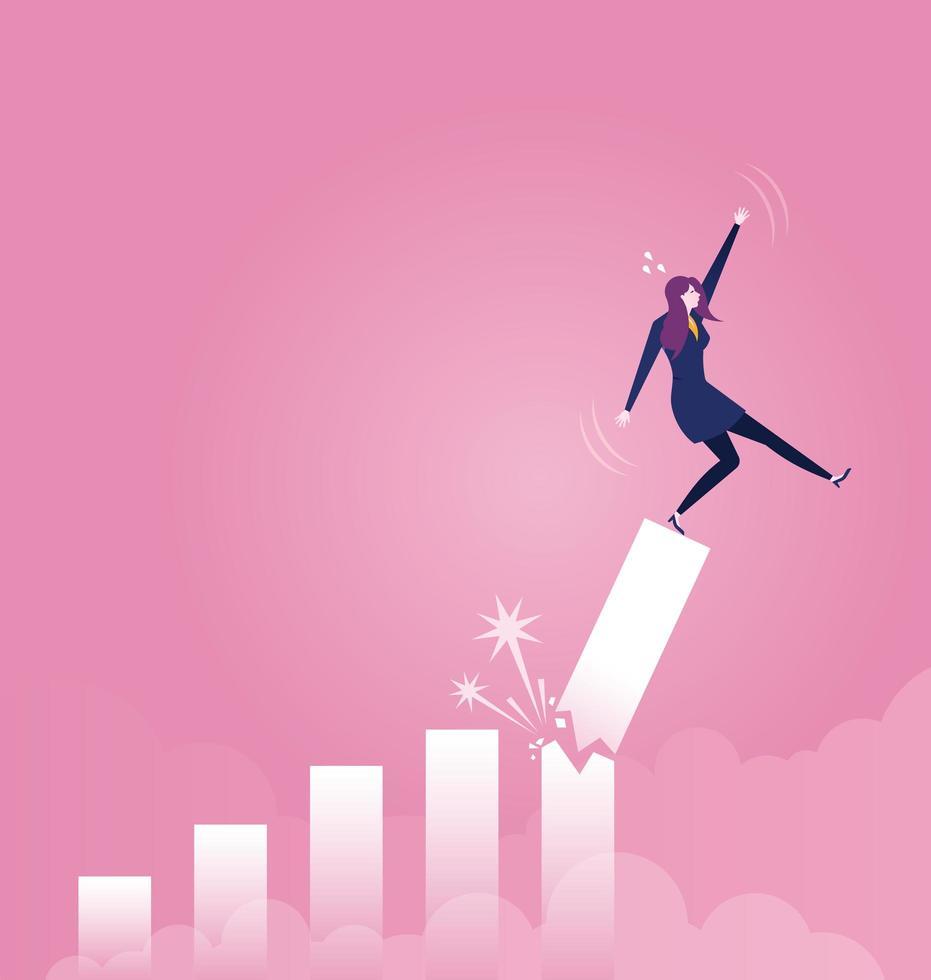 femme affaires, tomber, cassé, taux croissance, diagramme vecteur