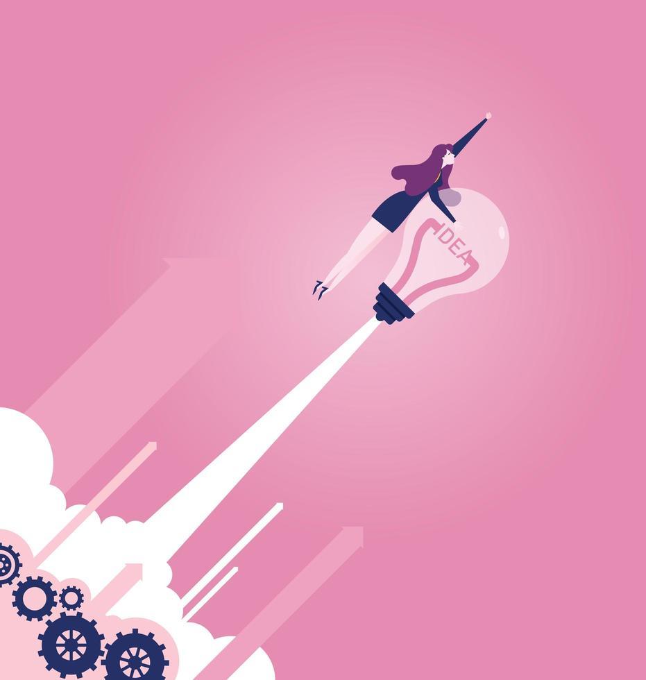 femme affaires, à, a, ampoule, fusée vecteur