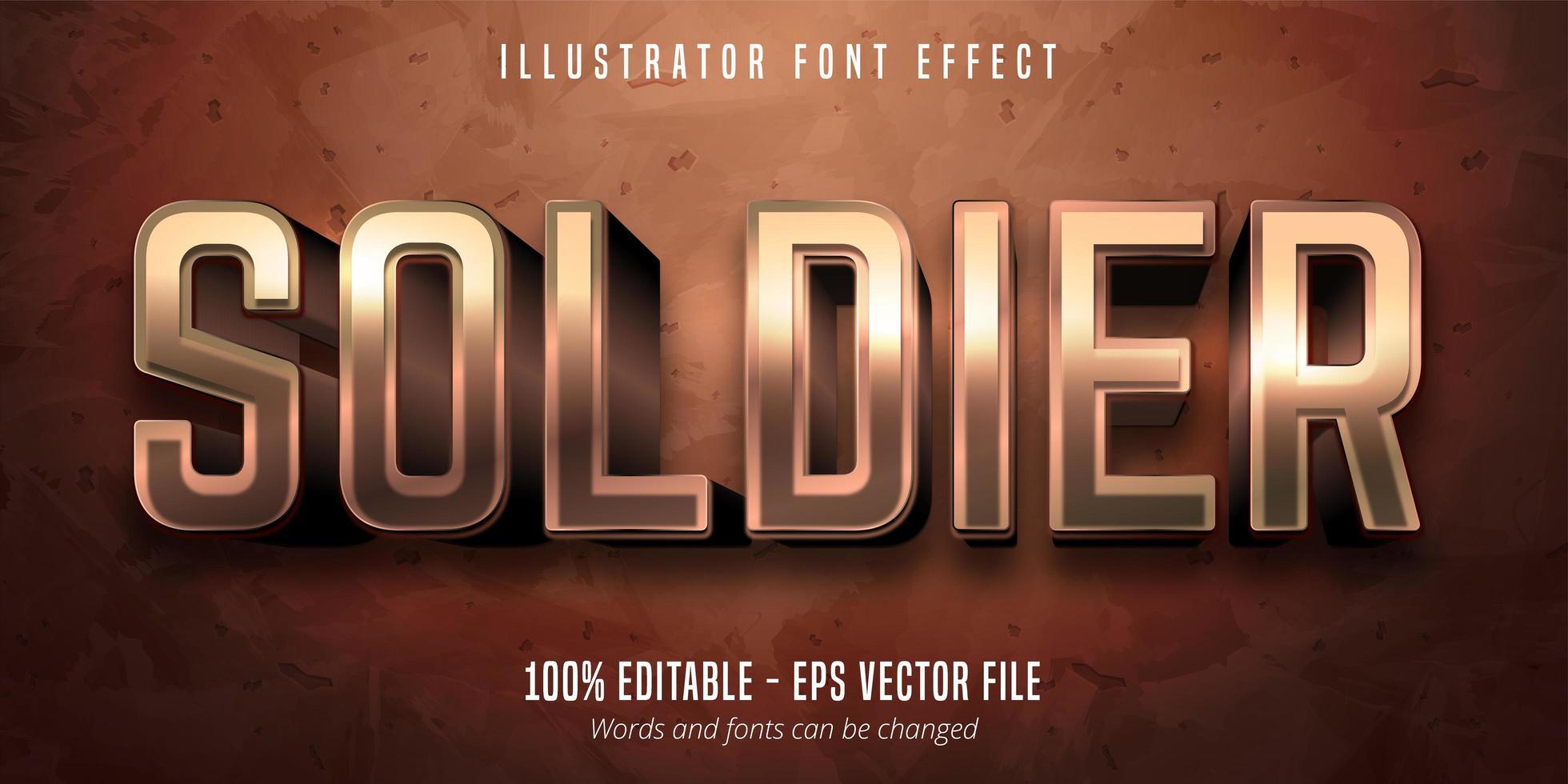 texte de soldat, effet de police modifiable en bronze métallique de style 3d vecteur