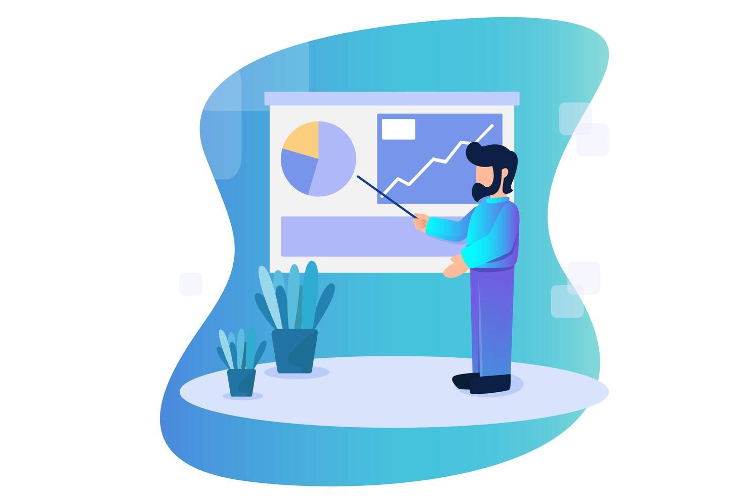 homme affaires, présentation, analytique, résultats, concept, illustration vecteur