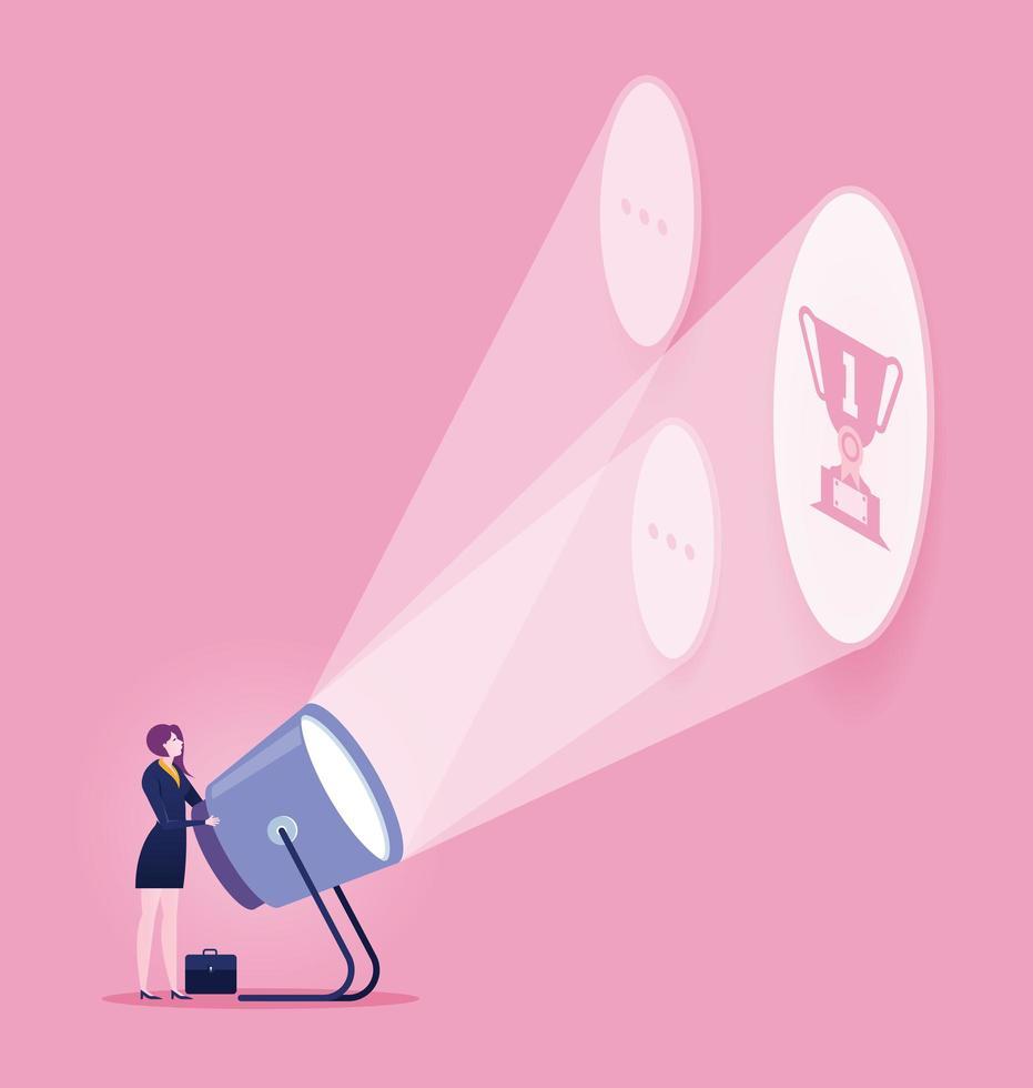femme d'affaires avec lampe de poche et trophée vecteur