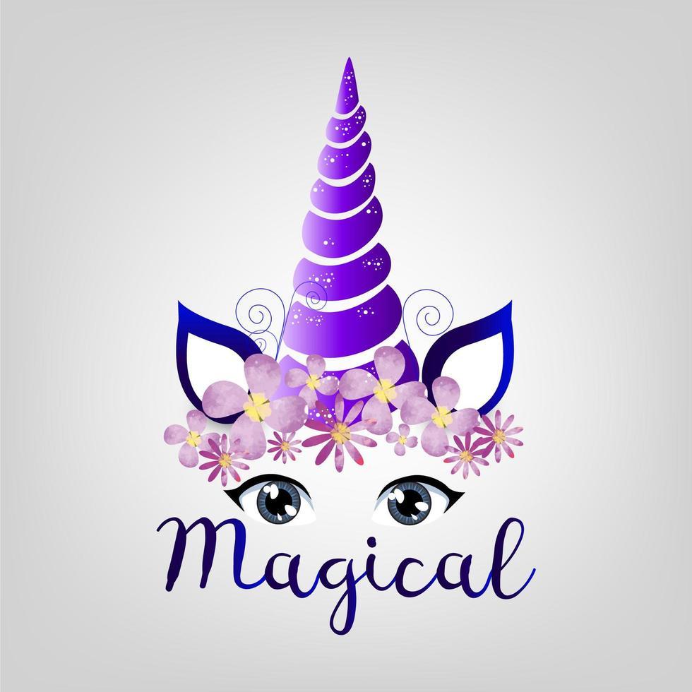 licorne magique pourpre vecteur