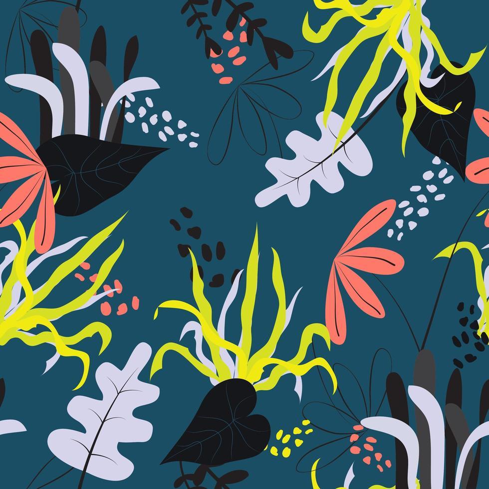 motif de feuilles et de fleurs de doodle vecteur