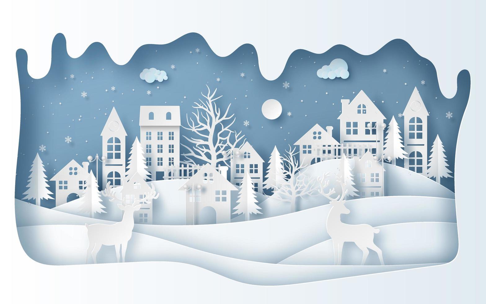 style art papier des rennes dans le village en saison d'hiver vecteur