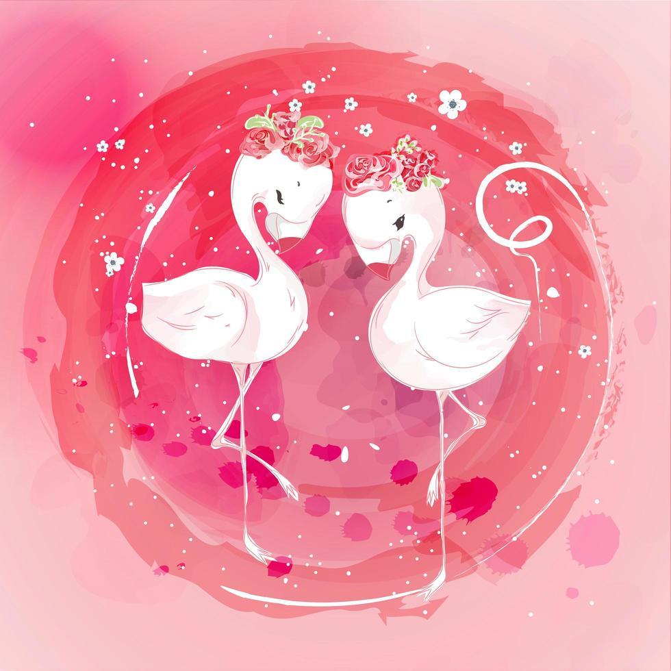 couronne de fleurs de flamant rose vecteur