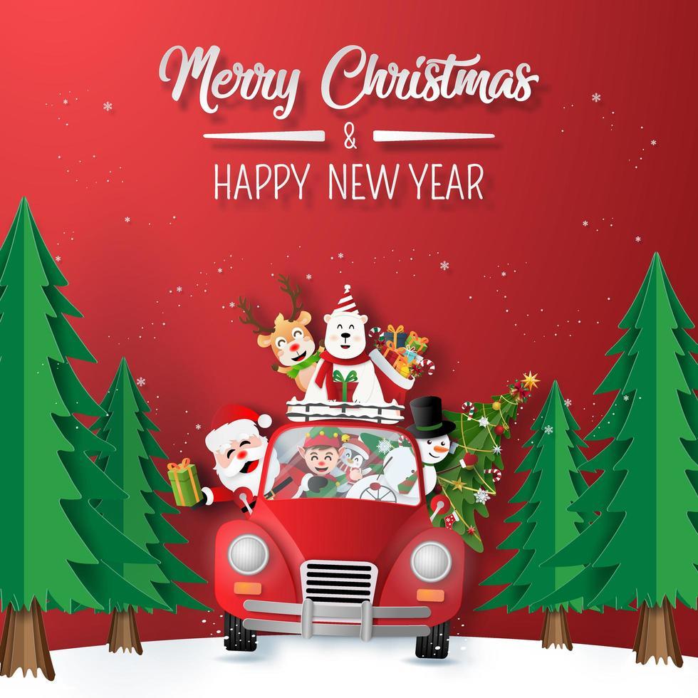 art du papier origami du père Noël et des amis en voiture rouge conduisant à travers la forêt vecteur