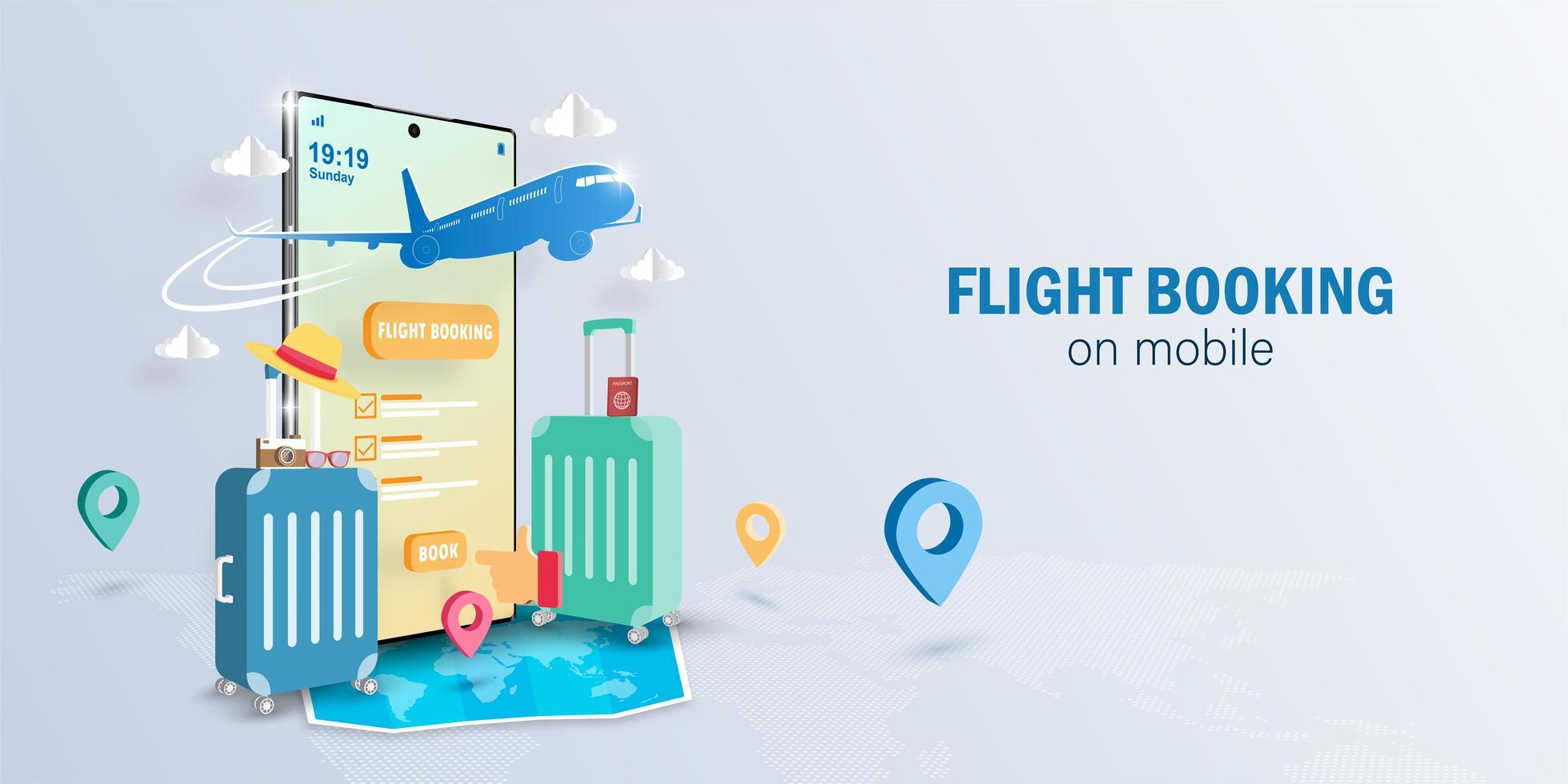 réservation de vol en ligne sur application smartphone vecteur