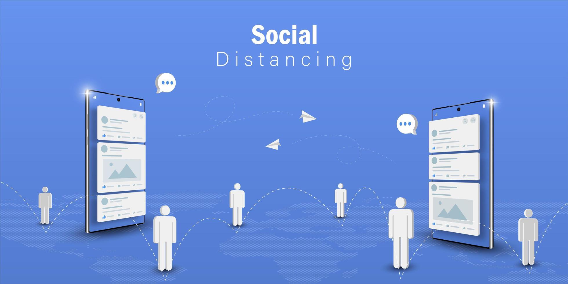 concept de communication de distanciation sociale vecteur