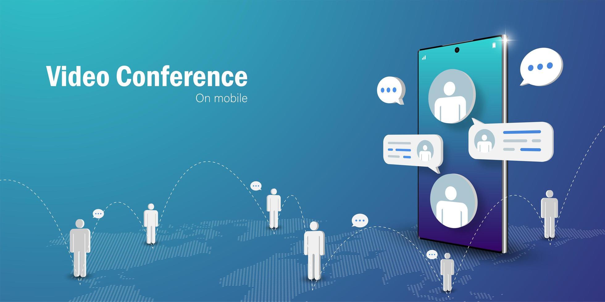 réunion d'affaires de vidéoconférence en ligne sur smartphone mobile vecteur