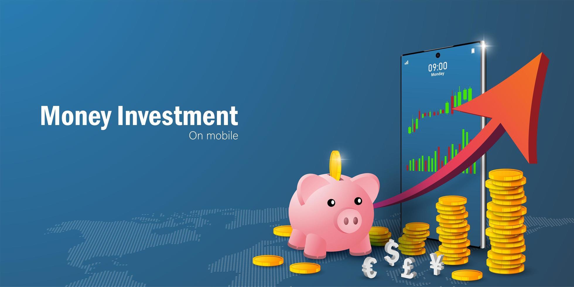 concept d'épargne et d'investissement d'argent vecteur