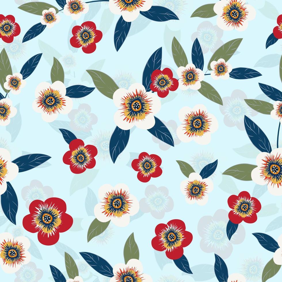floral vintage sur fond bleu vecteur