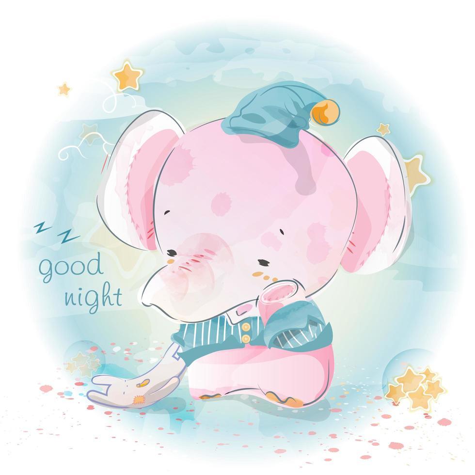 éléphant bonne nuit vecteur