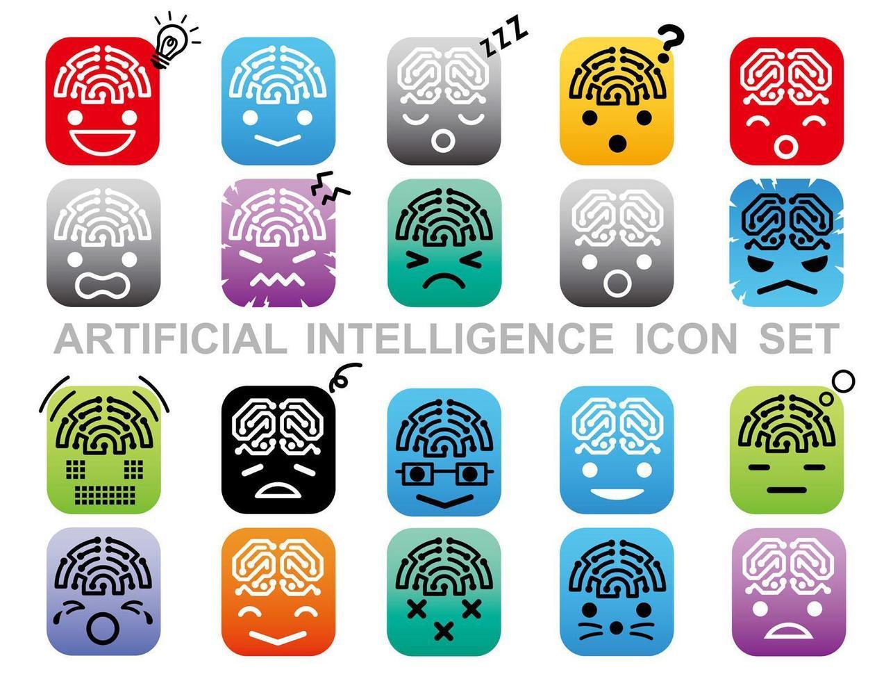jeu d'icônes d'intelligence artificielle isolé sur fond blanc. vecteur