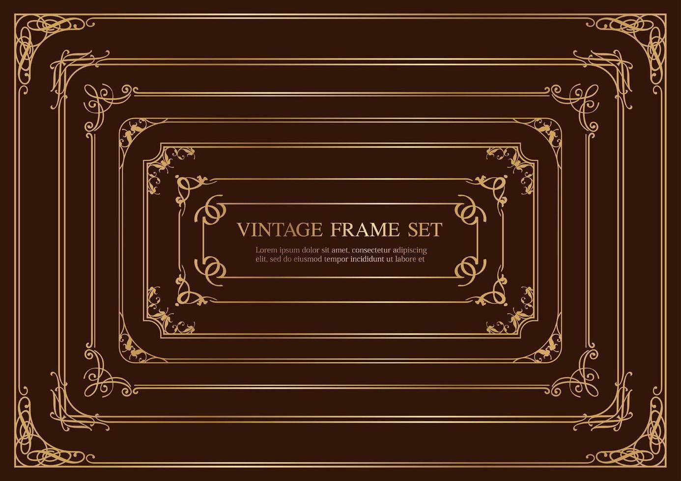 ensemble de sept cadres vintage rectangulaires or isolés sur fond sombre. vecteur
