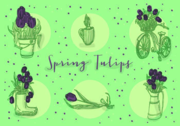 Icônes gratuites de tulipes vectorielles vecteur