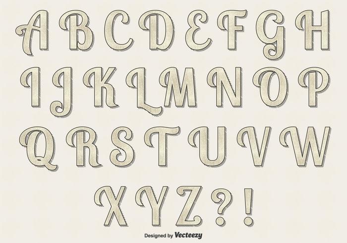 Ensemble Alphabet Vector Rétro