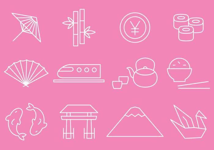 Vecteurs d'icônes de ligne fine japon vecteur