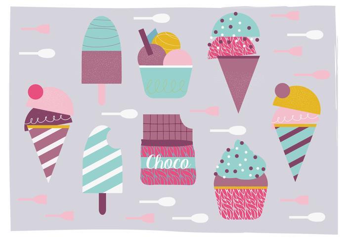 Divers illustrations de la crème glacée vecteur