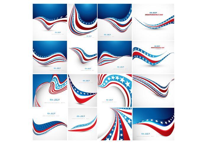 Bannière variée du drapeau américain vecteur