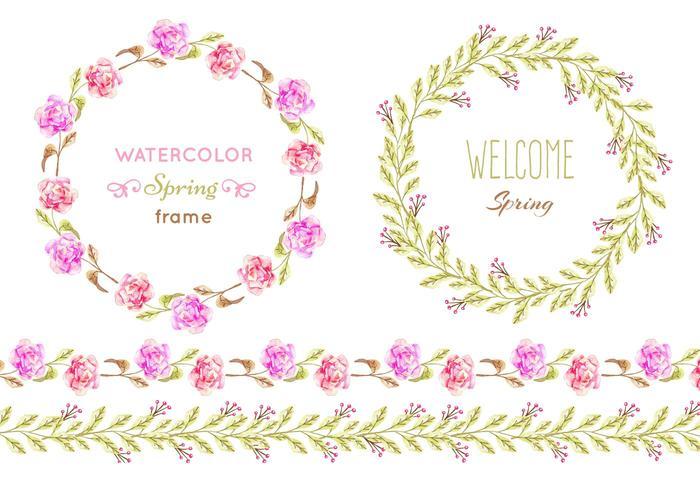 Cadres de protection floraux vectoriels gratuits vecteur