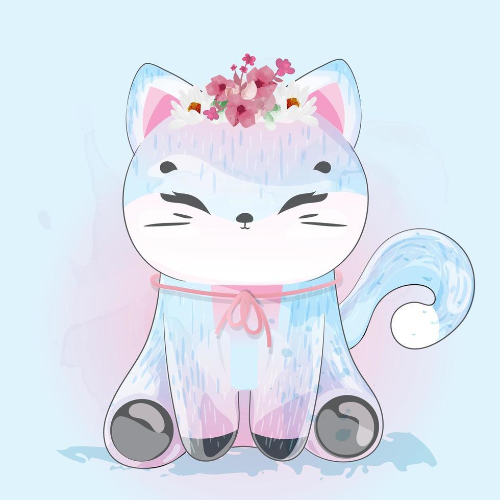 chat avec couronne de fleurs vecteur
