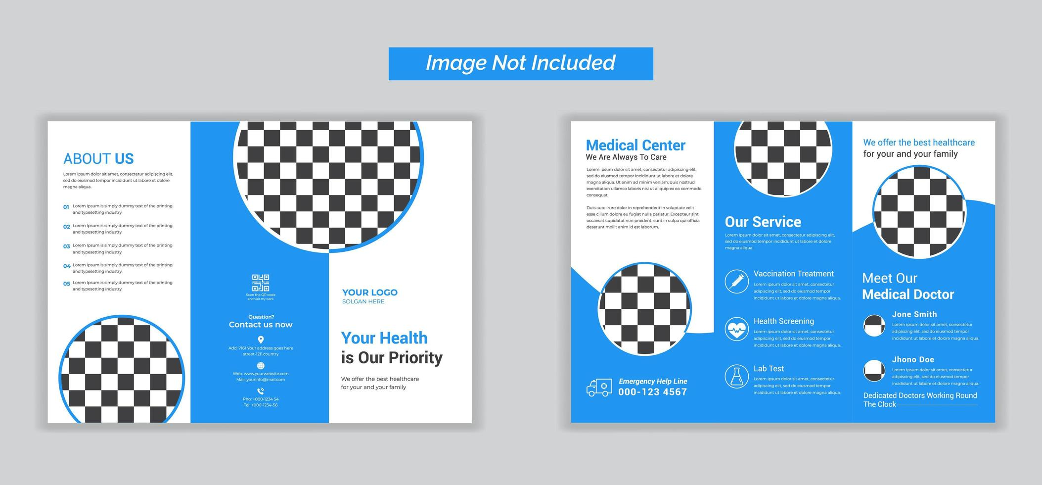 brochure médicale à trois volets à des fins commerciales vecteur