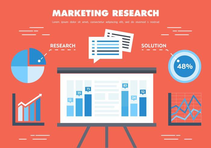 Vecteur gratuit de recherche de marketing plat