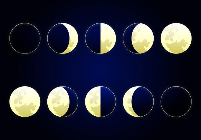 Illustration de la phase de la phase lunaire vecteur