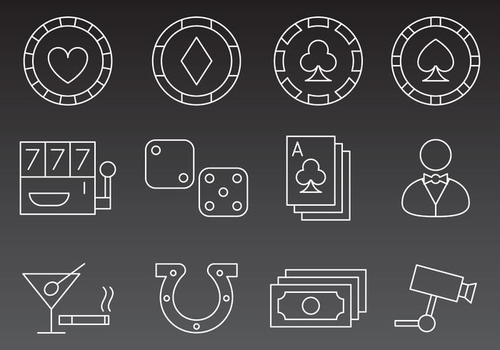 Vecteurs d'icônes de ligne de casino vecteur