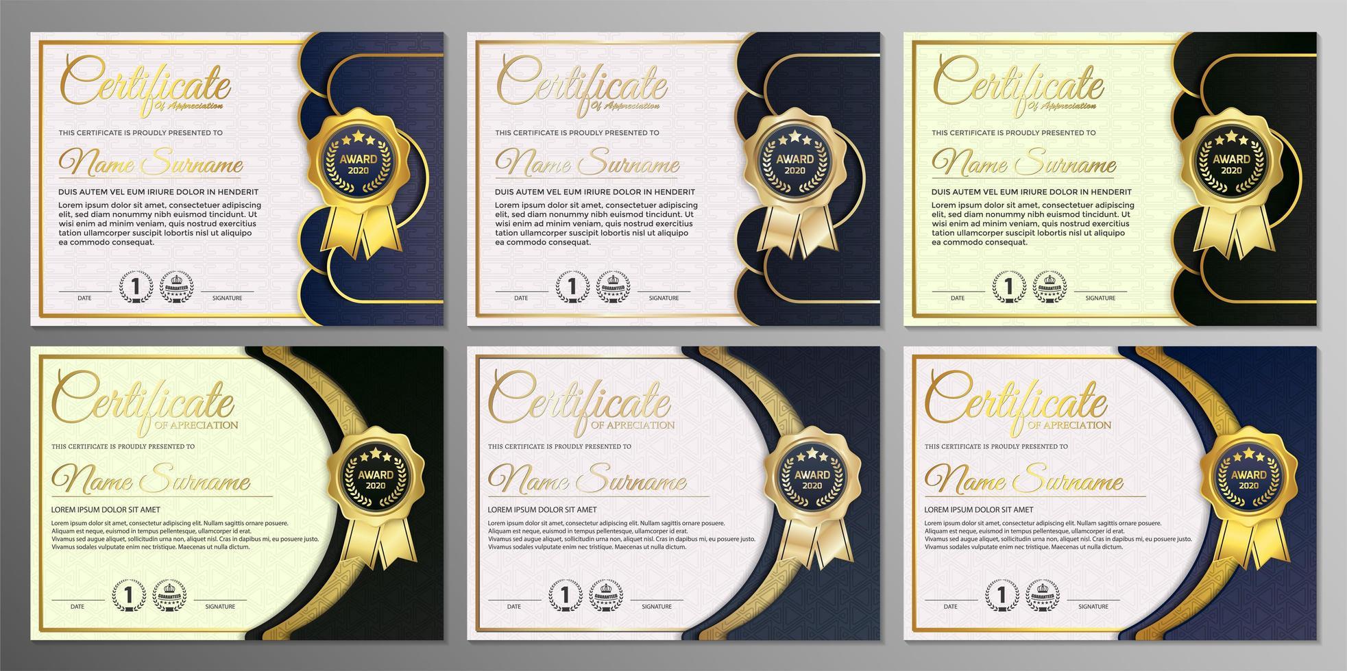 certificat d'appréciation avec badge doré vecteur