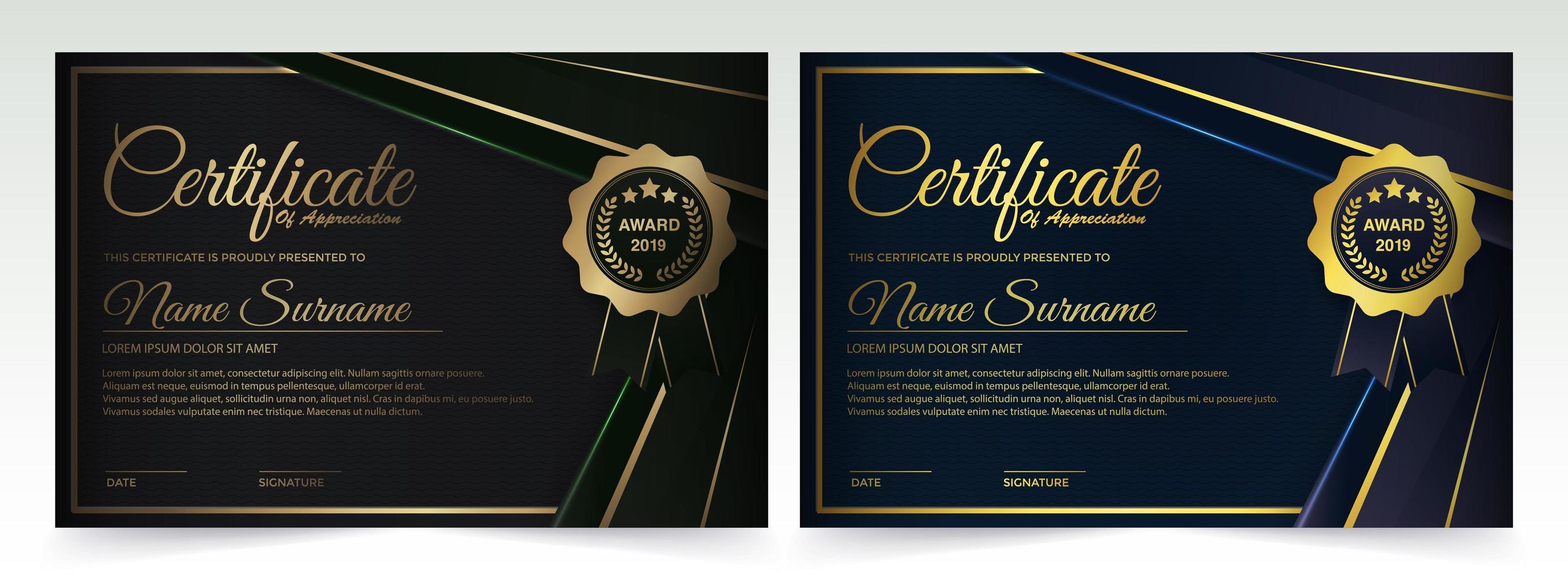 conception de modèle de certificat vert foncé et bleu vecteur