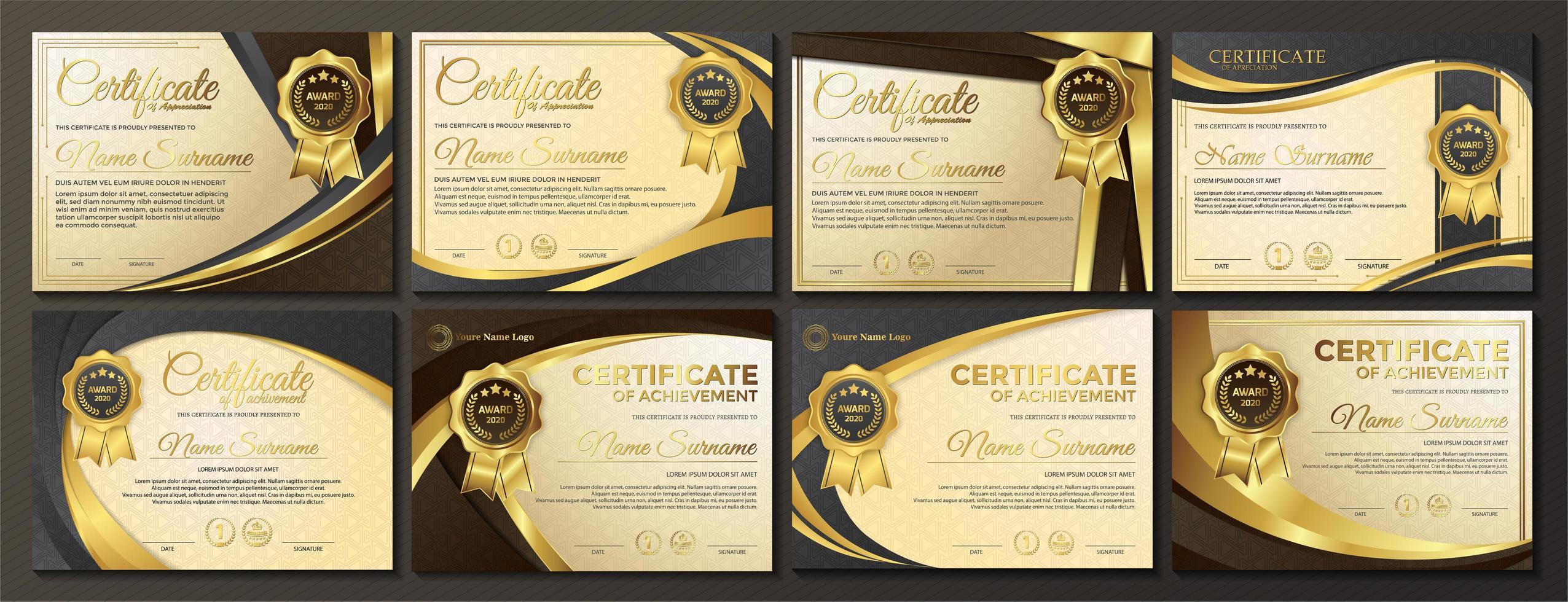 ensemble de certificats de conception dynamique doré premium vecteur