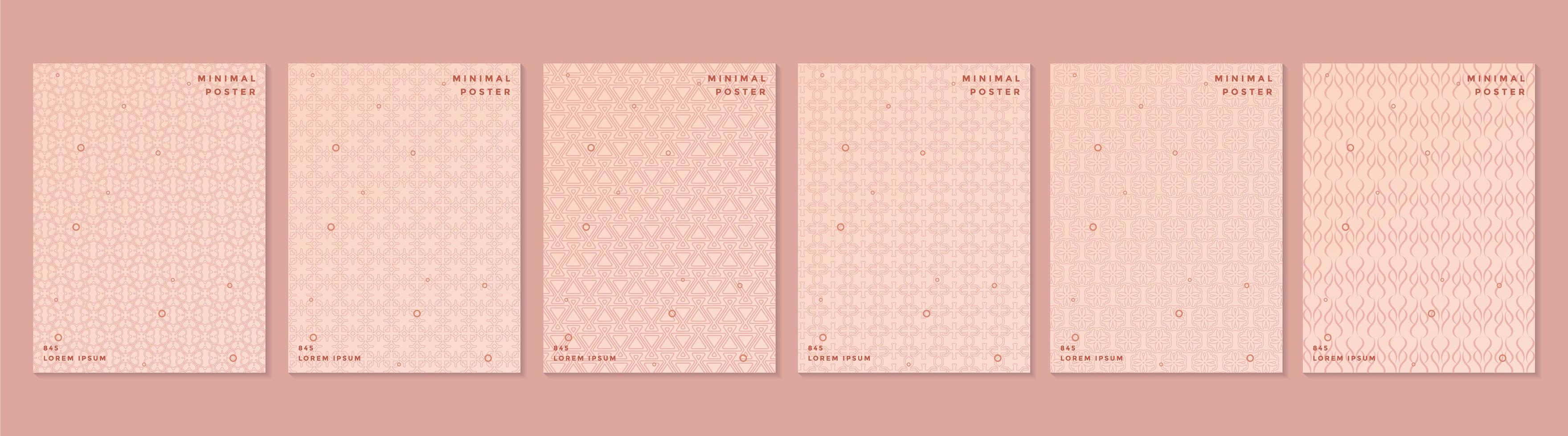 ensemble de couverture motif rétro rose vecteur