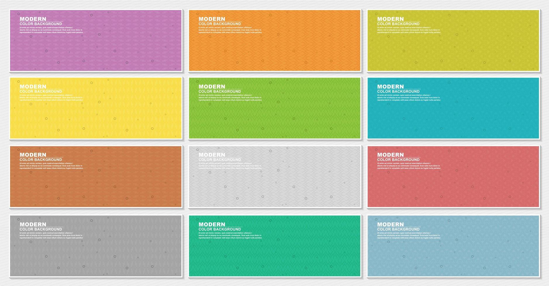 bannière colorée sertie de plusieurs styles de motif vecteur