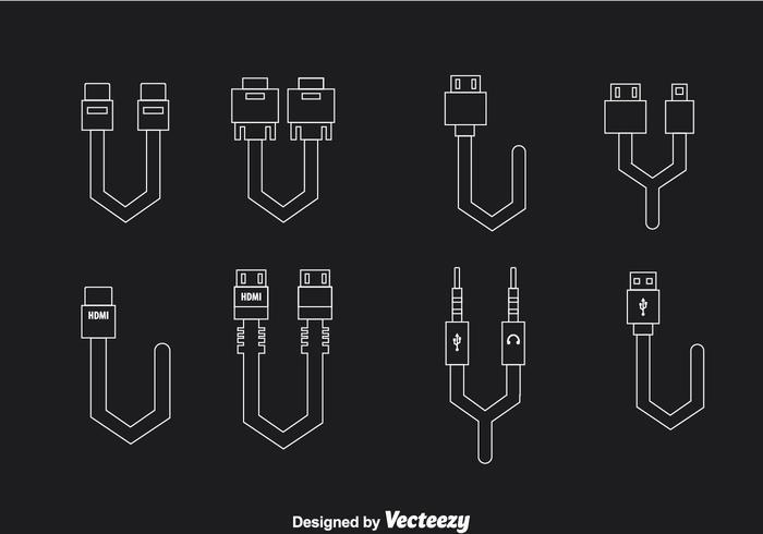 Icônes de contour de connexion de câble vecteur
