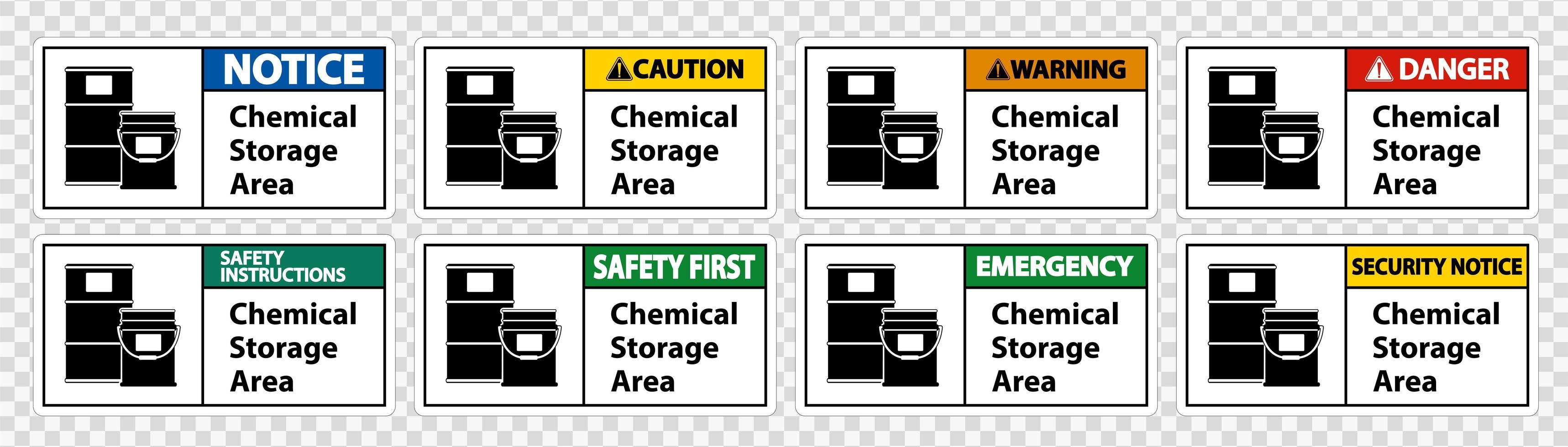ensemble de signes de zone de stockage de produits chimiques vecteur
