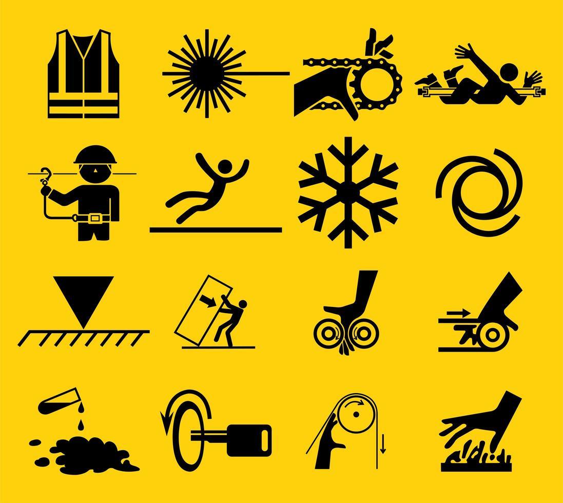 jeu d'icônes de panneau d'avertissement vecteur