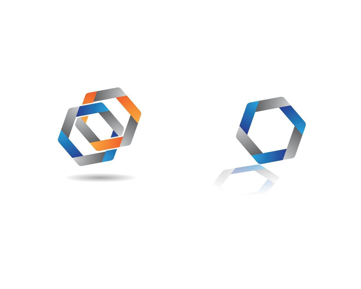éléments de logo abstrait hexagone vecteur
