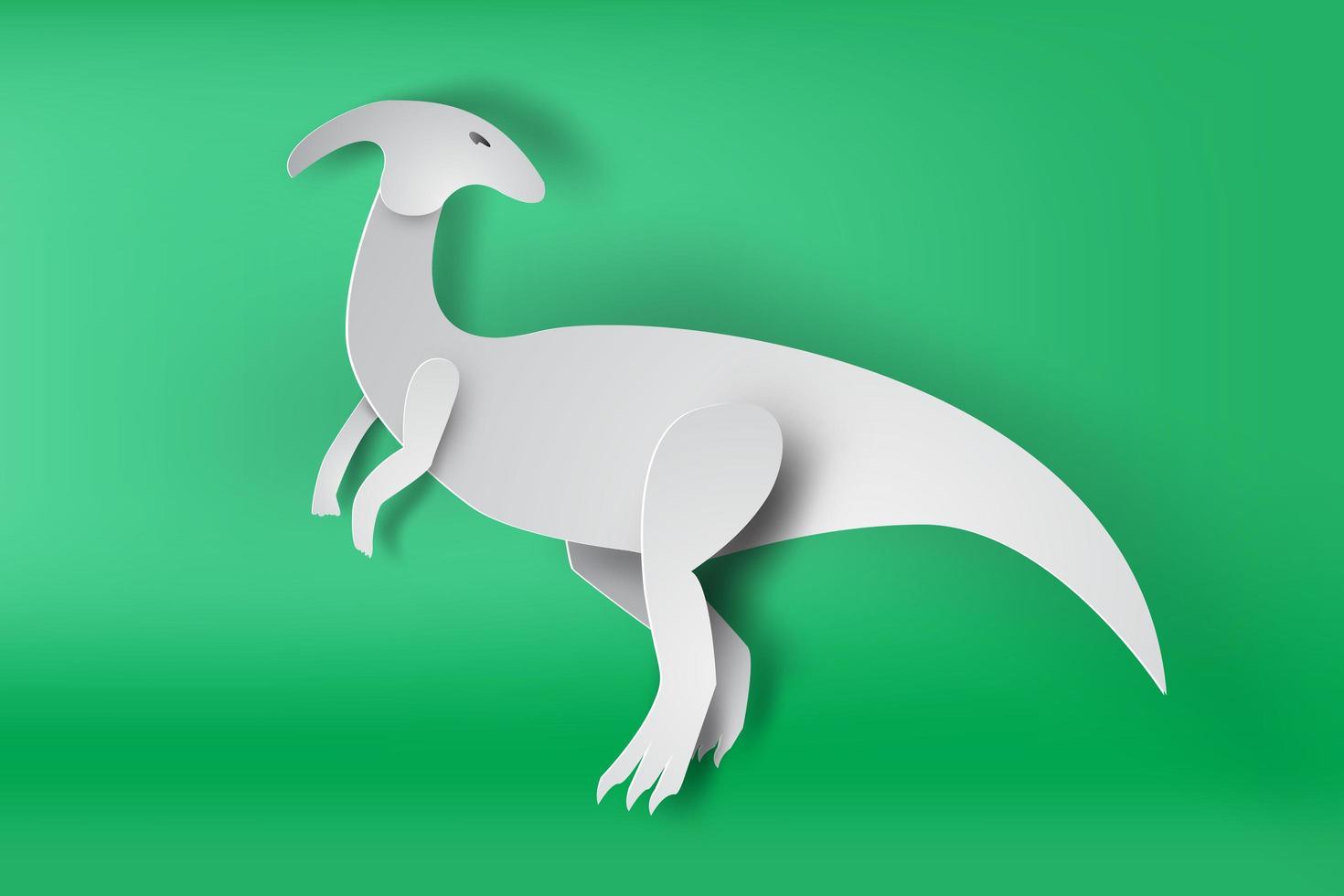 papier art parasaurolophus dinosaure vecteur