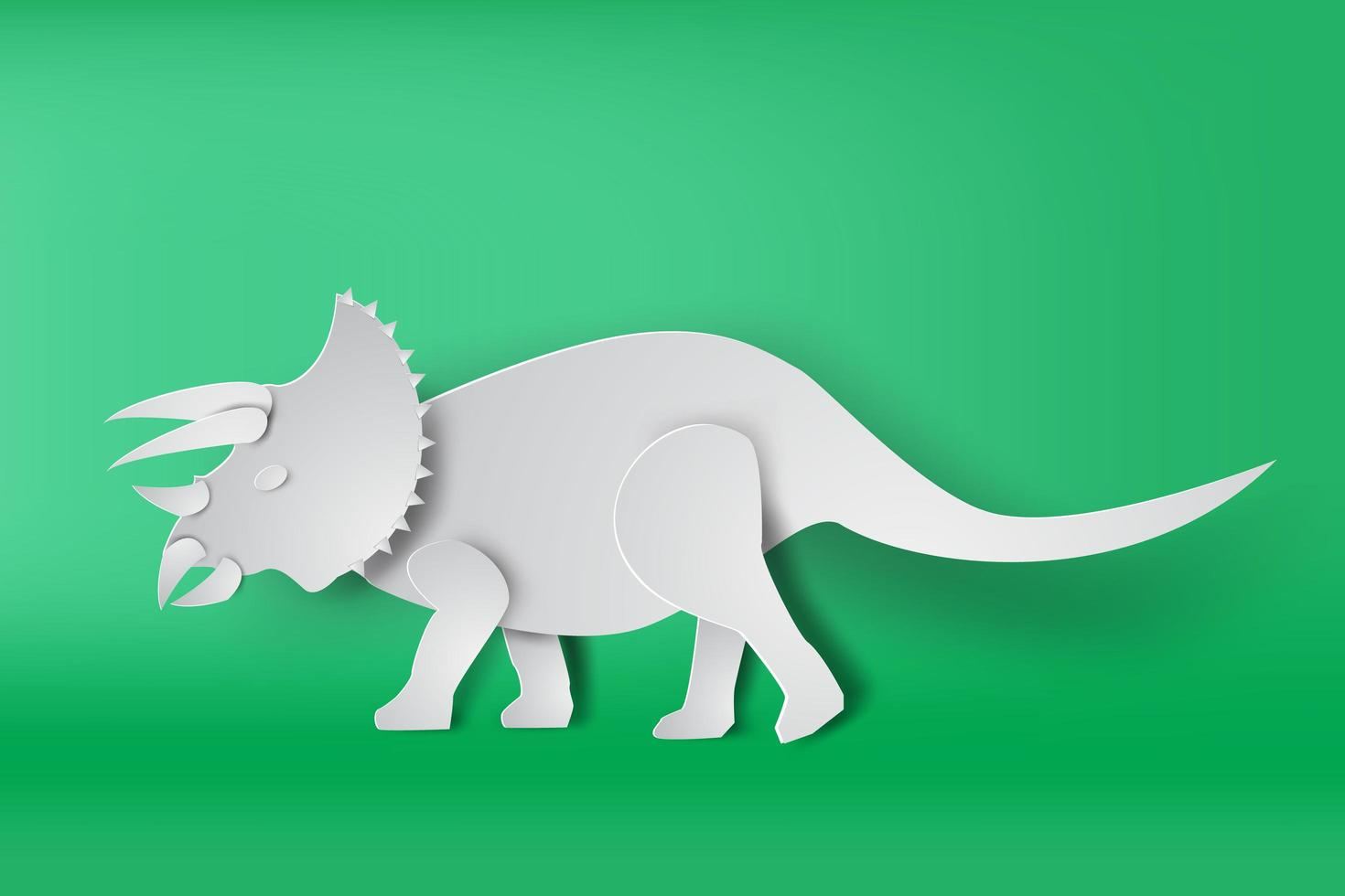 papier art tricératops dinosaure vecteur