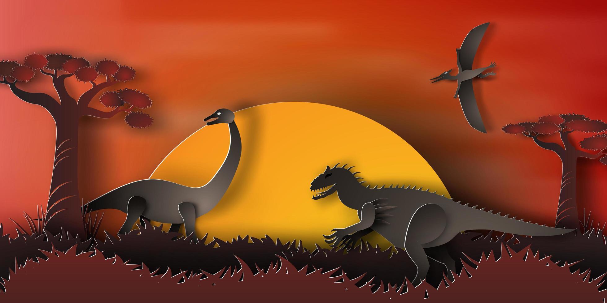 paysage de nuit de dinosaure vecteur