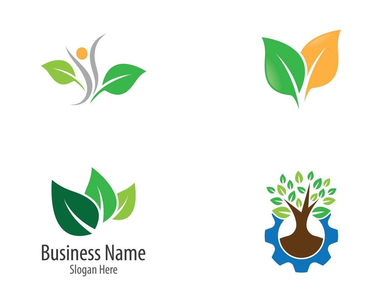 jeu d'icônes de feuilles et d'arbres vecteur