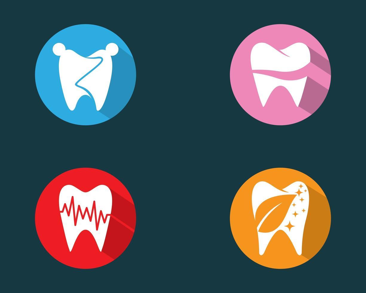 dents, dans, coloful, cercles, logo, ensemble vecteur