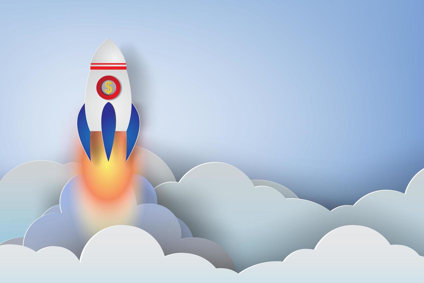 fusée d'art en papier se lançant à travers les nuages vecteur